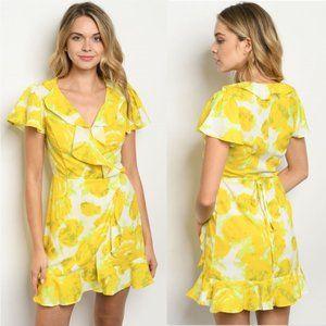 Dresses & Skirts - Yellow Floral Mini Wrap Dres